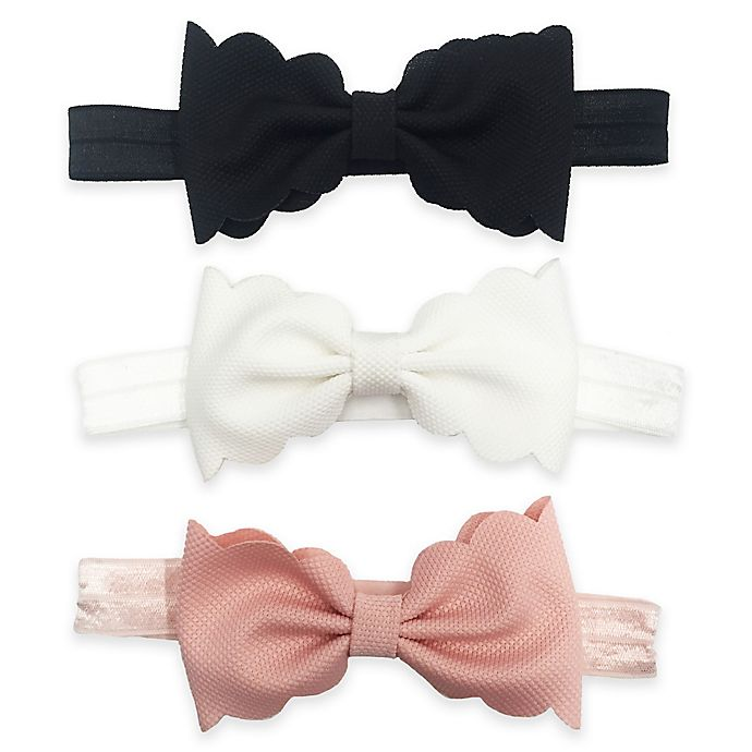 Alternate image 1 for Tiny Treasures 3-Pack Infant Scallop Bow Headbands in Pink/White/Black