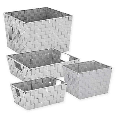 Woven Storage Tote In Light Grey
