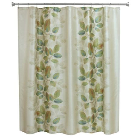 bacova waterfall leaves shower curtain in blue green bed bath beyond. Black Bedroom Furniture Sets. Home Design Ideas