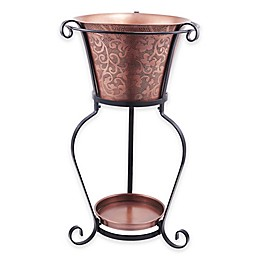 Old Dutch International 5-Gallon Solid Copper Etched Beverage Tub with Stand