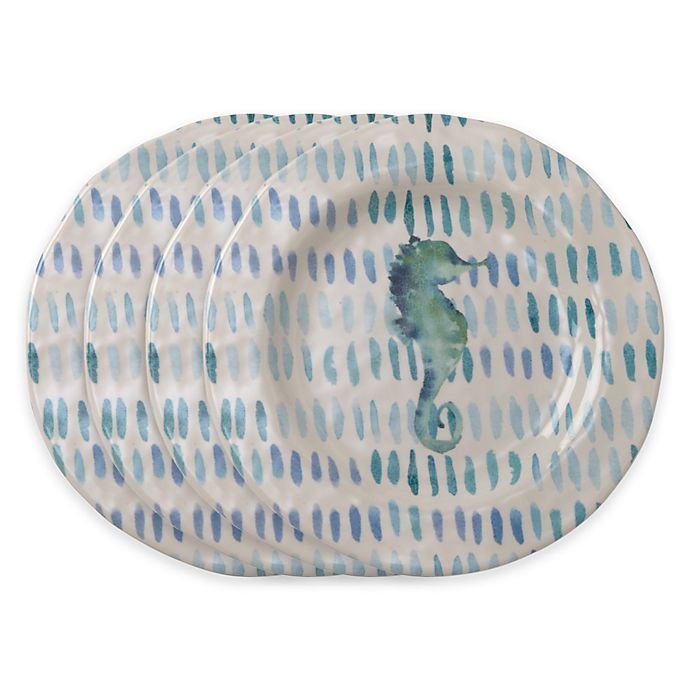 Alternate image 1 for tag Seahorse 4-Piece Salad Plate Set in Blue/White