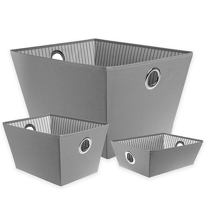 Alternate image 1 for SALT™ Heavyweight Grommet Bin in Grey Stripe