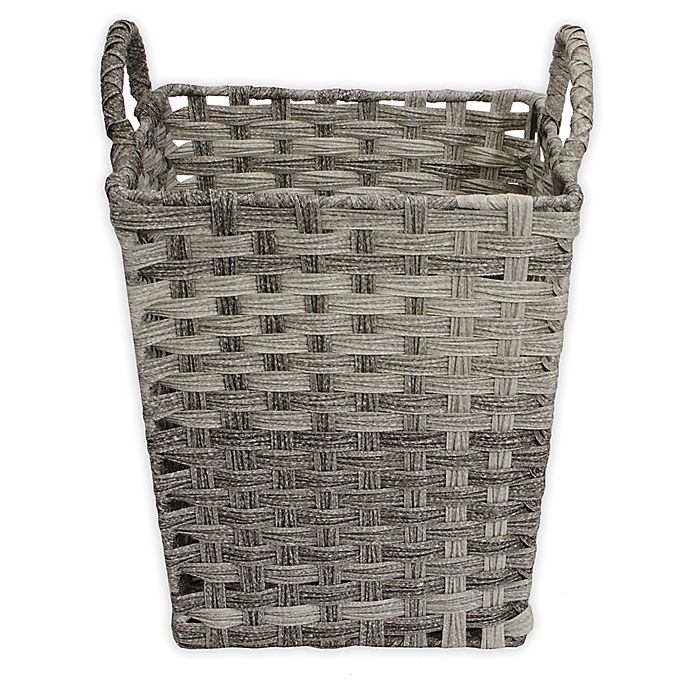 Alternate image 1 for ORG Woven Faux Rattan Storage Basket in Grey