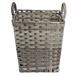 ORG Woven Faux Rattan Storage Basket in Grey