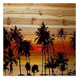 Parvez Taj Sunset Palms 32-Inch x 32-Inch Wood Wall Art