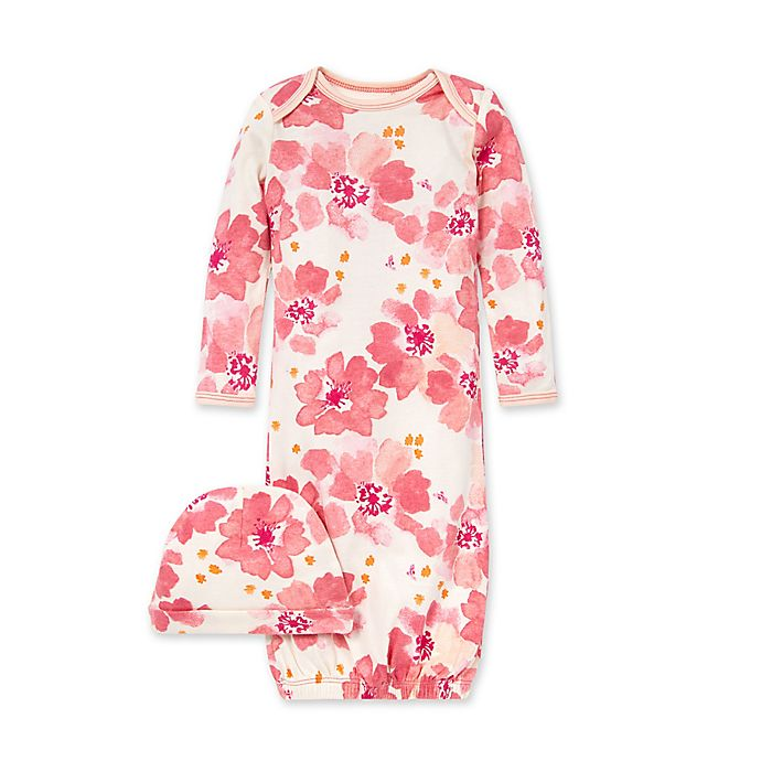 Alternate image 1 for Burt's Bees Baby® 2-Piece Sprinkling Petals Organic Cotton Gown and Hat Set