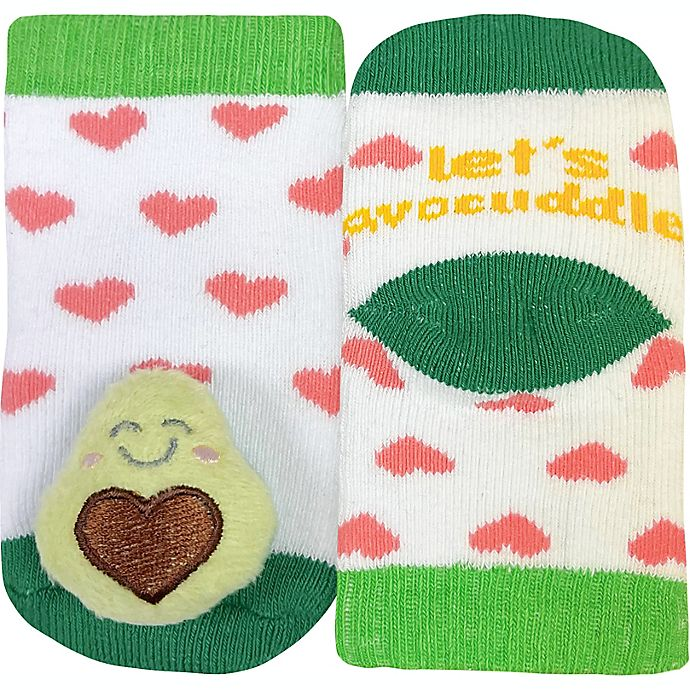 Alternate image 1 for IQ Kids Size 0-12M Avocado Rattle Socks in White