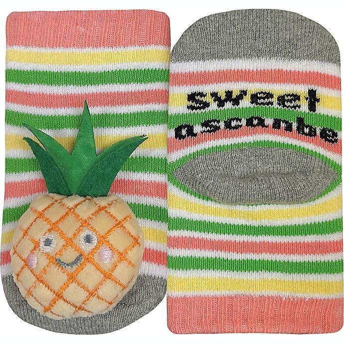 Alternate image 1 for IQ Kids Size 0-12M Pineapple Rattle Socks in White