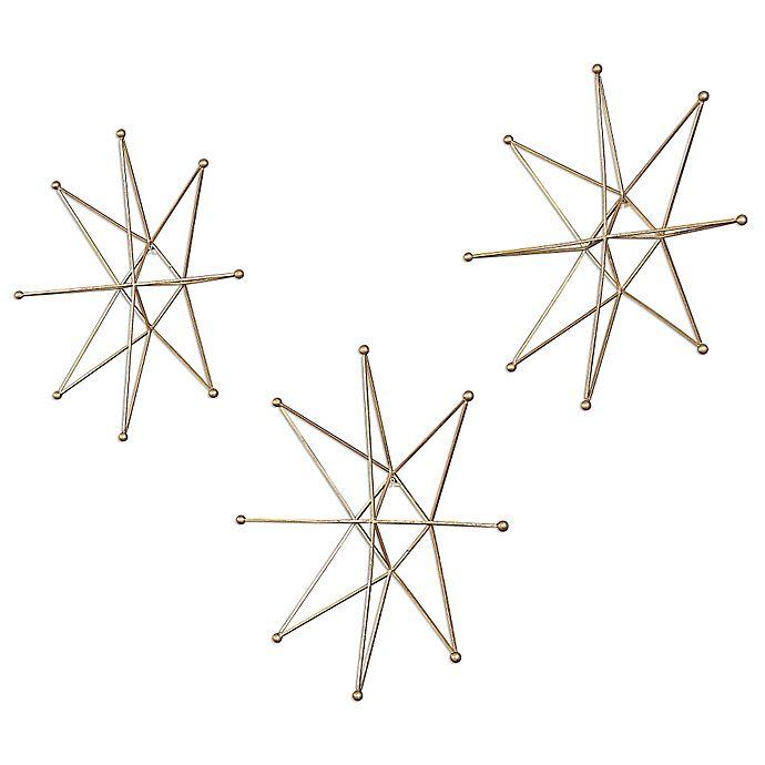 Alternate image 1 for Uttermost Gold Stars Wall Art (Set of 3)