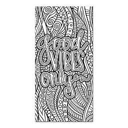 """""""Good Vibes Only"""" Custom Coloring 10-Inch x 20-Inch Canvas Wall Art"""