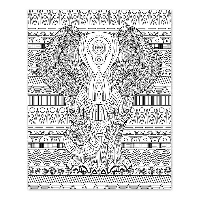 Alternate image 1 for Elephant Enchantment Custom Coloring Canvas Wall Art