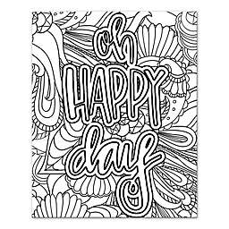"""""""Oh Happy Day"""" Coloring 8-Inch x 10-Inch Canvas Wall Art"""