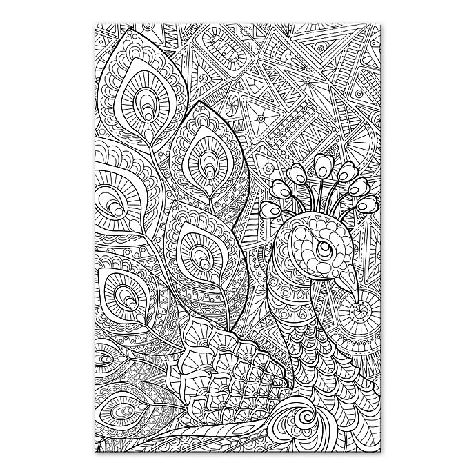 Alternate image 1 for Peacock Prance Custom Coloring Canvas Wall Art