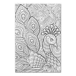 Peacock Prance Custom Coloring 12-Inch x 18-Inch Canvas Wall Art