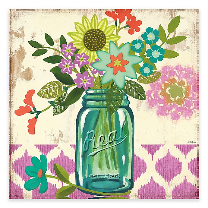 Mason Jar Flowers Violet Canvas Wall Art Bed Bath Beyond