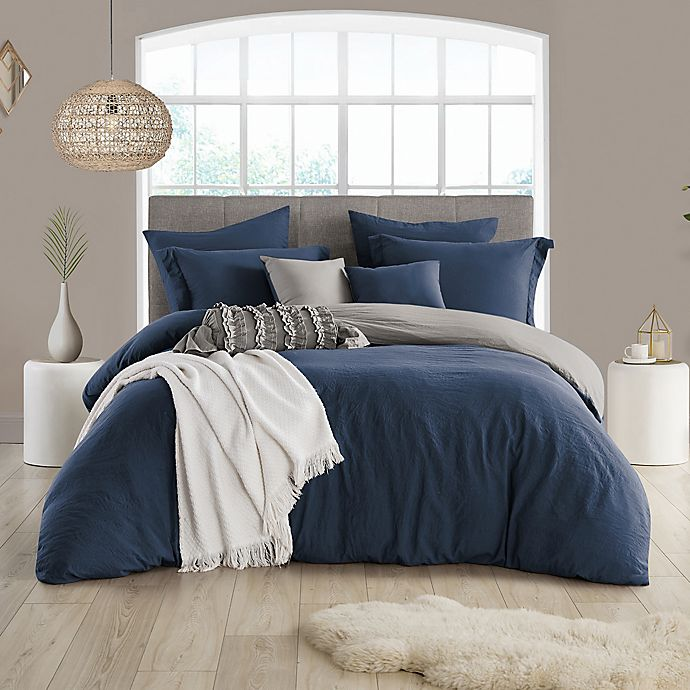Alternate image 1 for Swift Home Prewashed 3-Piece Reversible King/California King Duvet Cover Set in Navy/Graphite