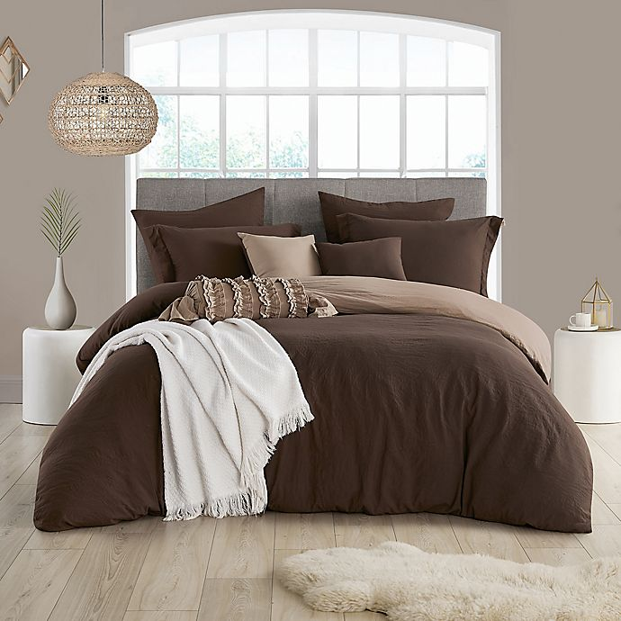 Alternate image 1 for Swift Home Prewashed 2-Piece Reversible Twin/Twin XL Duvet Cover Set in Chocolate/Tan