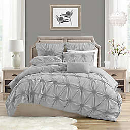 Swift Home Floral Pintuck 3-Piece Full/Queen Duvet Cover Set in Light Grey
