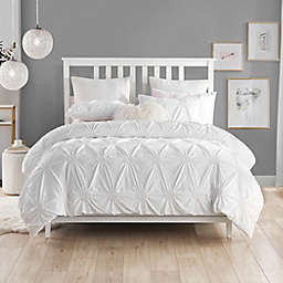 Swift Home Floral Pintuck 3-Piece Full/Queen Duvet Cover Set in White