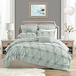 Swift Home Floral Pintuck 3-Piece Full/Queen Duvet Cover Set in Pale Blue