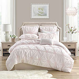 Swift Home Floral Pintuck 3-Piece King/California King Duvet Cover Set in Blush