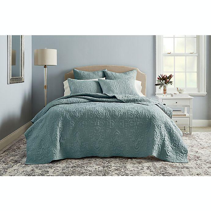 Alternate image 1 for Wamsutta® Cambridge 3-Piece King Quilt Set in Dusty Blue