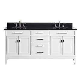 Avanity Madison 73 Inch Dual Vanity With Granite Top In White Black
