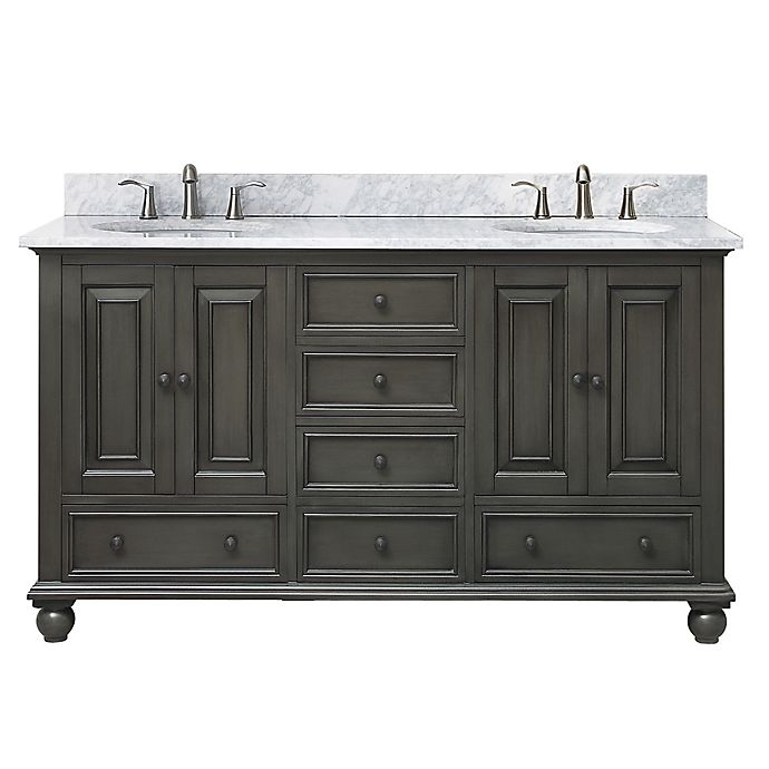 Alternate image 1 for Avanity Thompson 60-Inch Double Vanity with Carrera Marble Top in Charcoal/White