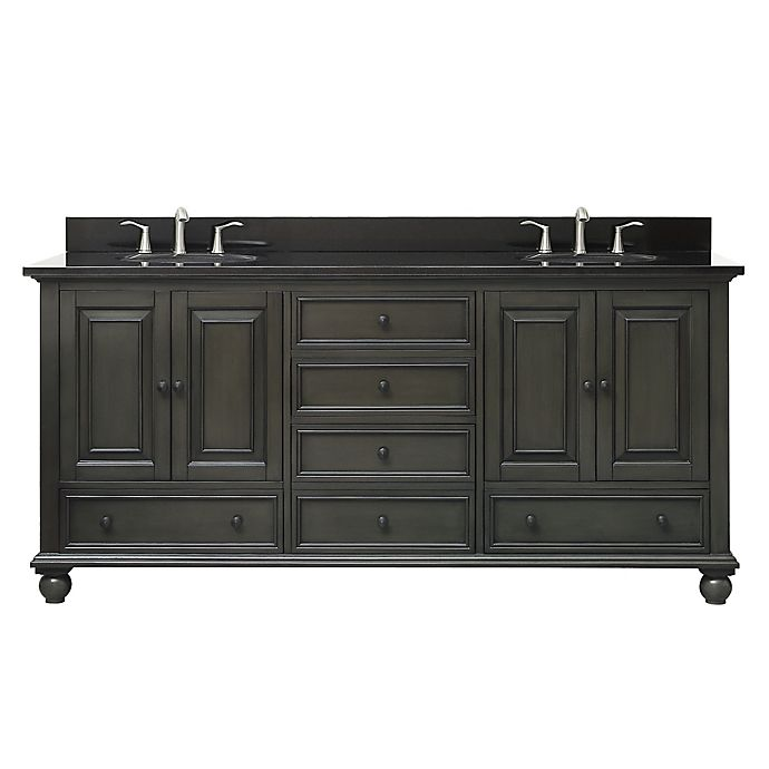 Alternate image 1 for Avanity Thompson 73-Inch Double Vanity with Granite Top in Charcoal/Black