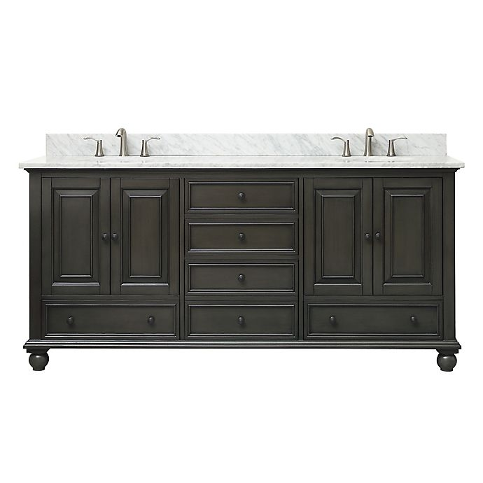 Avanity Thompson 73 Inch Double Vanity With Carrera Marble Top In