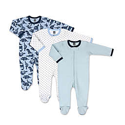 The Peanutshell™ Size 3M 3-Pack Dinos and Dots Footies