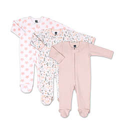 PS by The Peanutshell® Size 3M 3-Pack Flowers and Stars Long Sleeve Sleepers