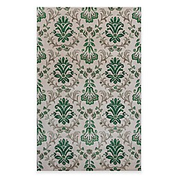 KAS Emerald Damask Area Rug in Ivory/Green