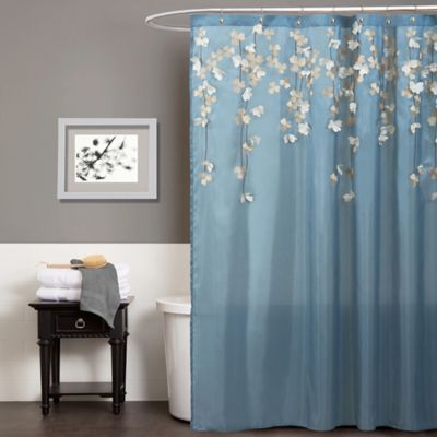 Flower Drops Shower Curtain In Federal Blue White Bed Bath Beyond