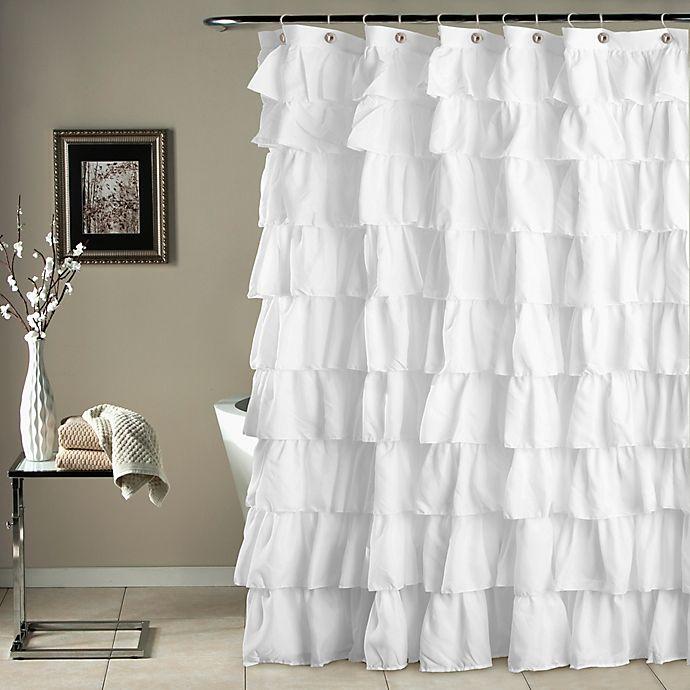 Alternate image 1 for Ruffle Shower Curtain in White