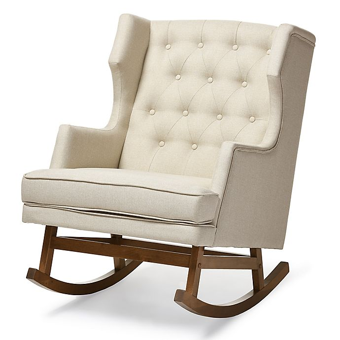 Alternate image 1 for Baxton Studio Iona Button-Tufted Wingback Rocking Chair