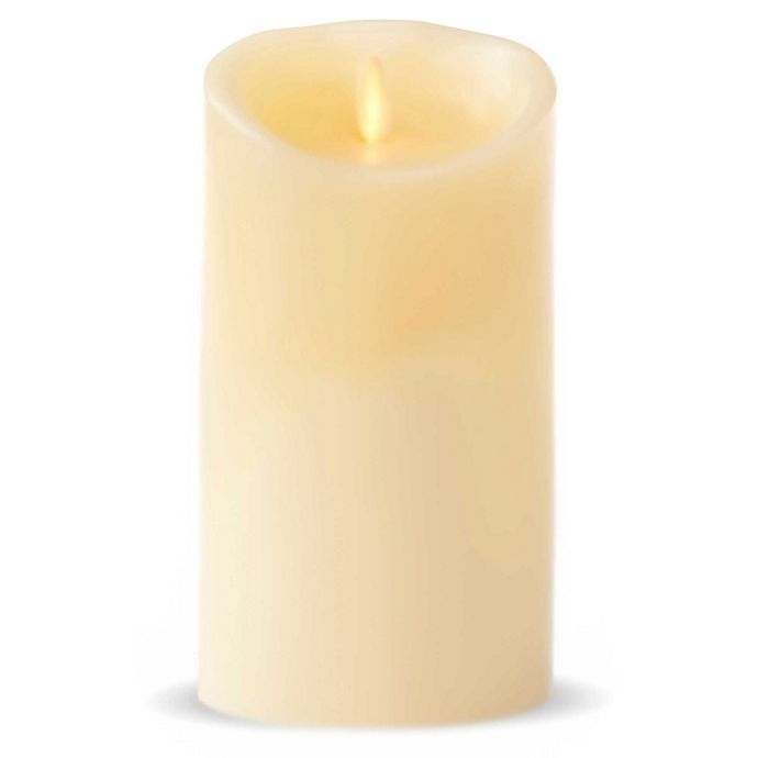 Alternate image 1 for Luminara® Real-Flame Effect 7-Inch Pillar Candle in Ivory