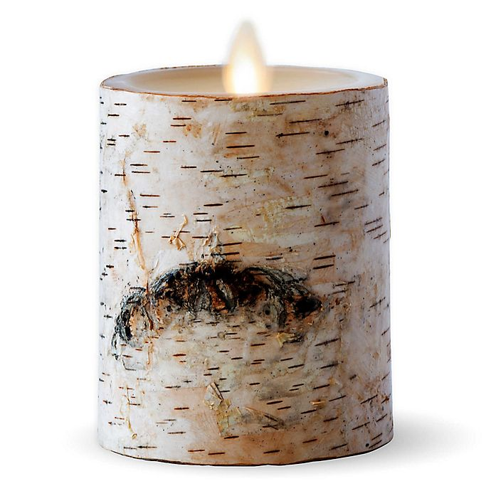 Alternate image 1 for Luminara® Birch 4-Inch Real-Flame Effect Pillar Candle in Brown