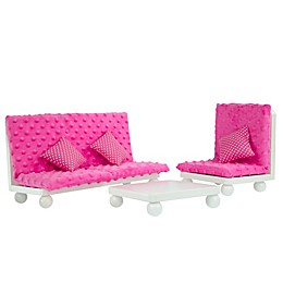Olivia's Little World Teamson Kids Doll Furniture 18-Inch 3-Piece Lounge Set in Pink