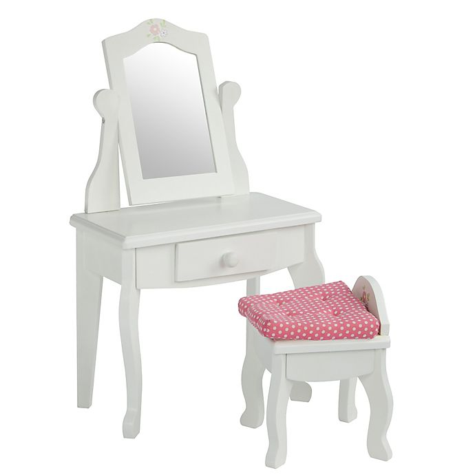 Alternate image 1 for Olivia's Little World 18-Inch Doll Vanity Table and Stool Set in White