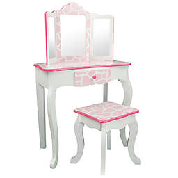 Teamson Kids Giraffe Vanity Table and Stool Set in Baby Pink/White