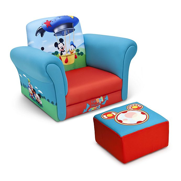 Alternate image 1 for Delta Disney® Mickey Mouse Children's Chair and Ottoman Set in Blue/Red