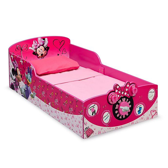 Alternate image 1 for Disney Minnie Mouse Wooden Interactive Toddler Bed by Delta Children
