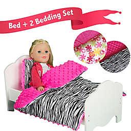 Olivia's Little World Single Doll Bed and 4-Piece Zebra Stripe/Flower Print Bedding Set