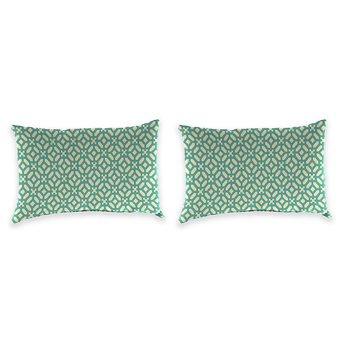 Alternate image 1 for Print Outdoor Lumbar Throw Pillows in In the Frame Oasis (Set of 2)