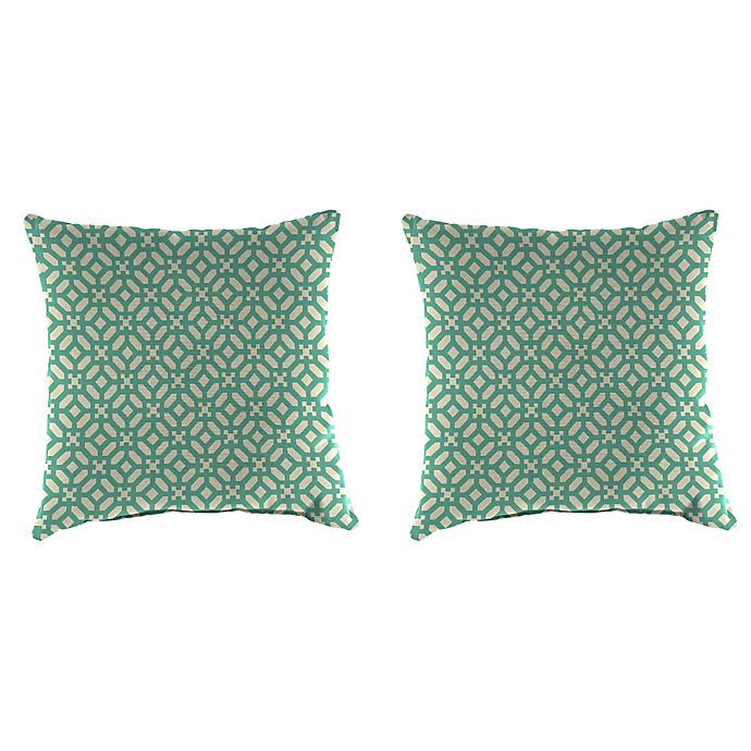 Alternate image 1 for Jordan Manufacturing Print 18-Inch Square Throw Pillows in In the Frame Oasis (Set of 2)