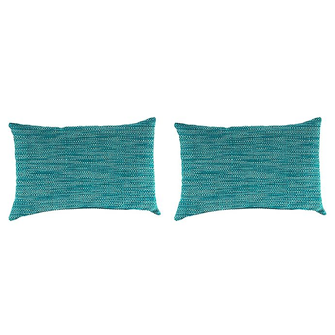 Alternate image 1 for Solid Outdoor Lumbar Throw Pillows (Set of 2)