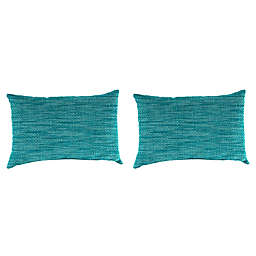 Solid Outdoor Lumbar Throw Pillows (Set of 2)
