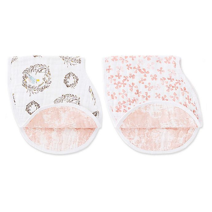 Alternate image 1 for aden + anais® 2-Pack 2-in-1 Birdsong Muslin Bib and Burp Cloths in Pink