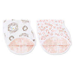 aden + anais® 2-Pack 2-in-1 Birdsong Muslin Bib and Burp Cloths in Pink